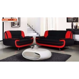 Lewis 3+2 Seater Sofa Set Two Piece Suite Red / Black Faux PU Leather