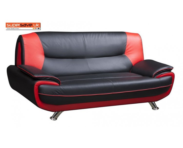 Lewis 3 Seater Sofa Black / Red Quality Faux PU Leather Contemporary