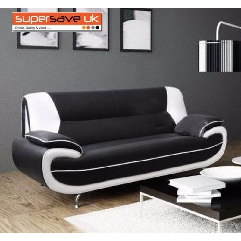 Premium Leather Sofas Uk: Lewis 3 Seater Sofa Black / White Faux PU Leather Contemporary