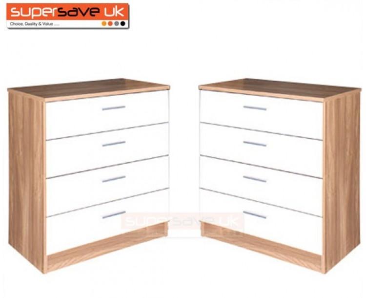 Set of 2x Modern White High Gloss / Oak Frame Chest of 4 Drawers