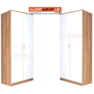 Set of 2x 2 Door Double Wardrobe White High Gloss / Oak Frame