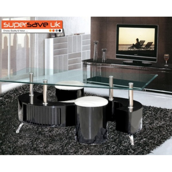 S Shape Clear Glass / Black Gloss Coffee table + Storage Drawers 2 Stools
