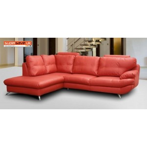 Verona Left Corner Group Sofa Red Faux PU Leather Modern Contemporary