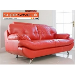 Verona 3 Seater Sofa Red Faux PU Leather New Modern Contemporary