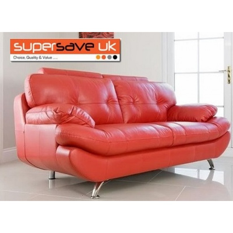 3 Seater Sofa Red Faux Pu Leather