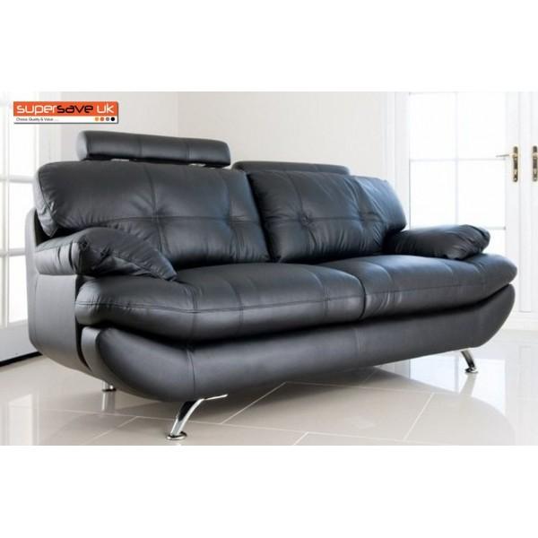 Verona 3 Seater Sofa Black Faux PU Leather New Modern Contemporary