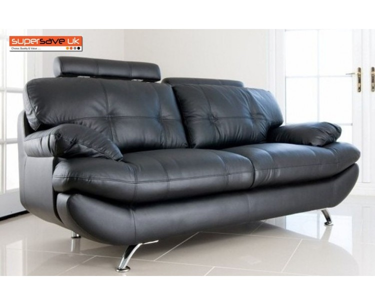 Verona 3 Seater Sofa Black Faux PU Leather New Modern Contemporary