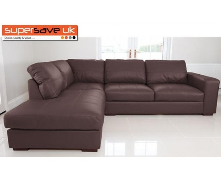 Venice Left Corner Group Sofa Brown Faux PU Leather Modern