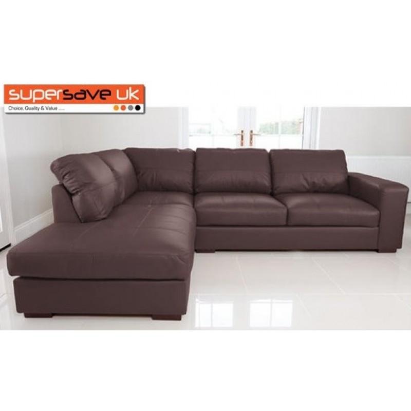 Venice Left Corner Group Sofa Brown Faux Pu Leather Modern