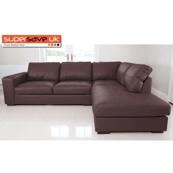 Venice Right Corner Group Sofa Brown Faux PU Leather Modern