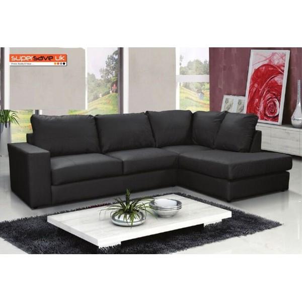 Venice Right Corner Group Sofa Black Faux PU Leather Modern