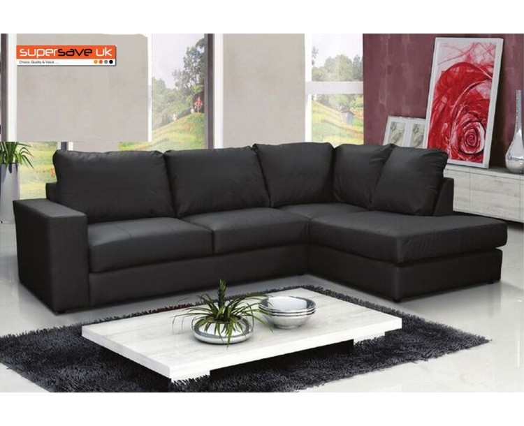 Venice Right Corner Group Sofa Black Faux PU Leather Modern