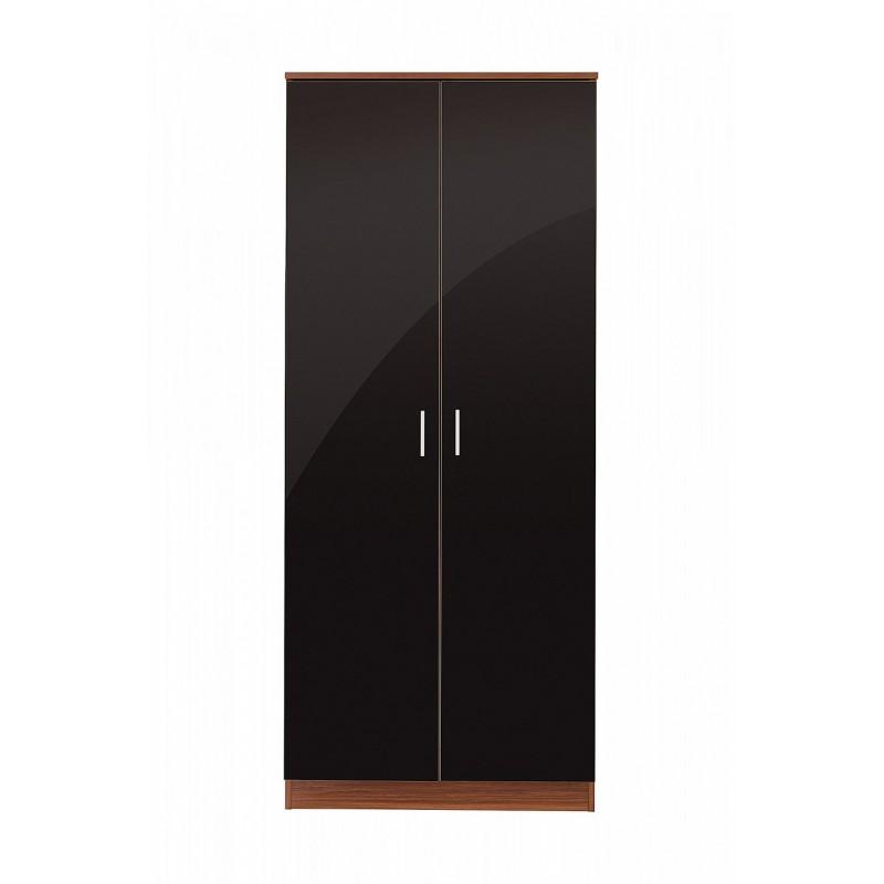Ottawa black high gloss and walnut veneer three piece - Walnut and black gloss living room furniture ...