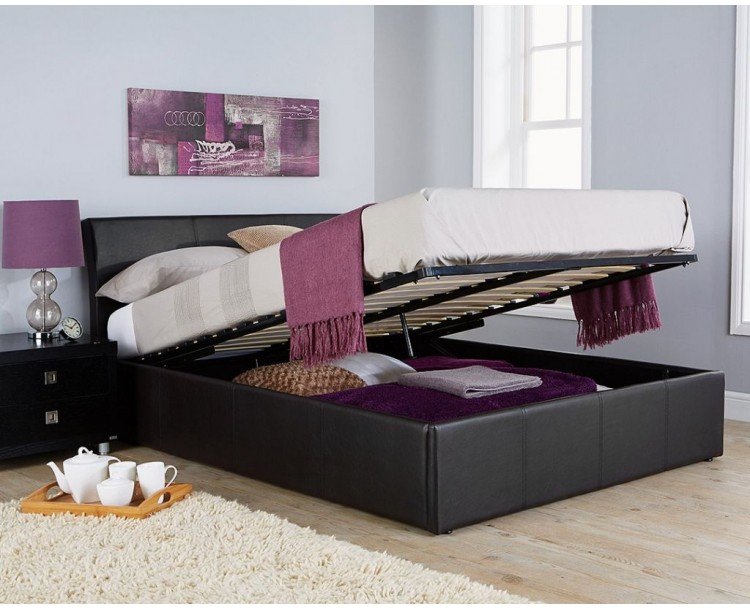 Hampton 5ft Black Ottoman Storage Bed + Gas lift Faux Leather