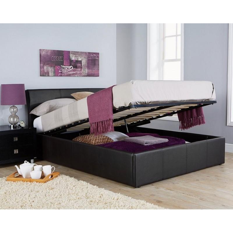 sc 1 st  SuperSaveUK & Hampton 5ft Black Ottoman Storage Bed + Gas lift Faux Leather