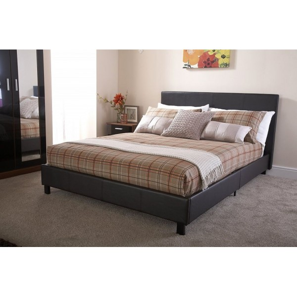 Hampton 3ft Brown Ottoman Storage Bed + Gas lift Faux Leather