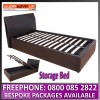 Hampton 3ft Black Ottoman Storage Bed + Gas lift Faux Leather