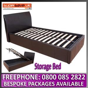 Hampton 3ft Black Ottoman Storage Bed + Gas lift Faux Leather