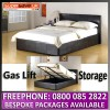 Hampton 4ft6 Brown Ottoman Storage Bed + Gas lift Faux Leather