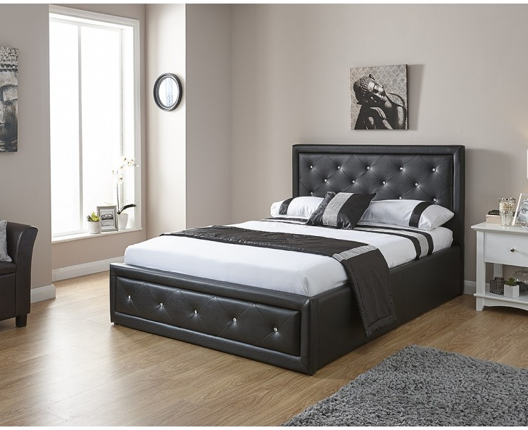 Hollywood Crystal 4FT6 Double Gas Lift Bed Frame