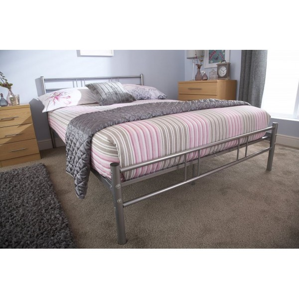 Ibiza Metal 4ft6 Double Bed Strong Alloy Frame in Silver