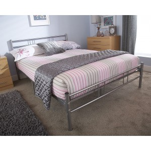 Morgan Metal Single Bed In Silver