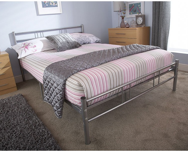 Morgan Metal Single Bed In Silver