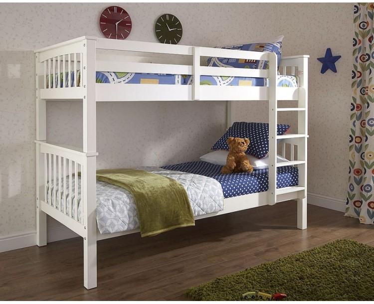 Novaro Solid Pine Frame Wooden Bunk Bed White