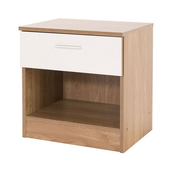 Ottawa Bedside Cabinet White Gloss and Oak Frame