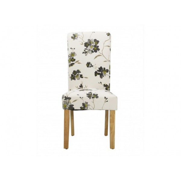 Freya Set of 2 Floral Fabric Dining Chairs Solid Oak Legs