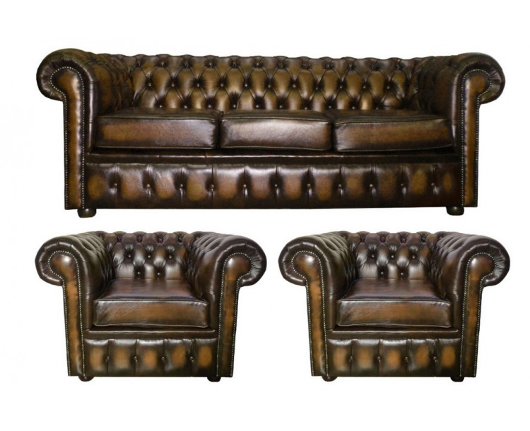 Chesterfield Antique Brown Genuine Leather Three Seater and Two Club Chairs