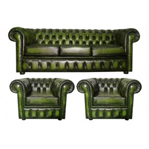 Chesterfield Antique Green Genuine Leather Three Seater and Two Club Chairs