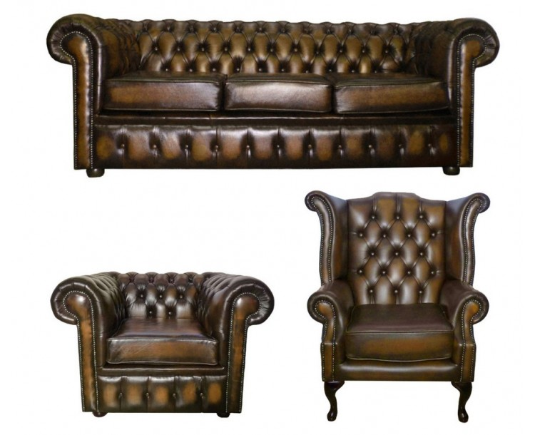 Chesterfield Antique Brown Genuine Leather Three Seater & Queen Anne & Club Chair