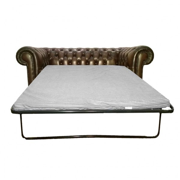 Chesterfield Antique Brown Genuine Leather Two Seater Sofa Bed