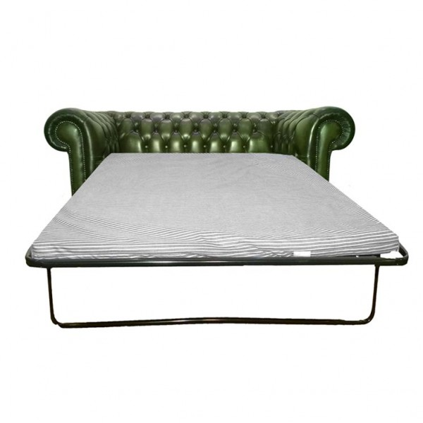 Chesterfield Antique Green Genuine Leather Two Seater Sofa Bed