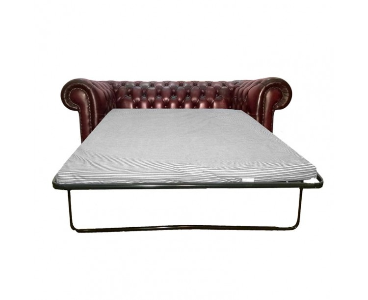 Chesterfield Antique Oxblood Red Genuine Leather Two Seater Sofa Bed