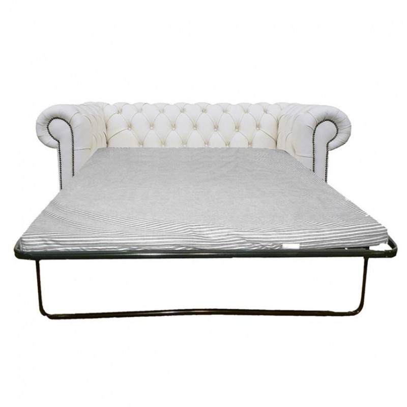 chesterfield shelly white genuine leather two seater sofa bed rh supersaveuk com Chesterfield Pull Out Bed Diamond Sofa Bed Chesterfield