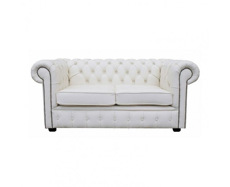 Chesterfield Shelly White Genuine Leather Two Seater Sofa
