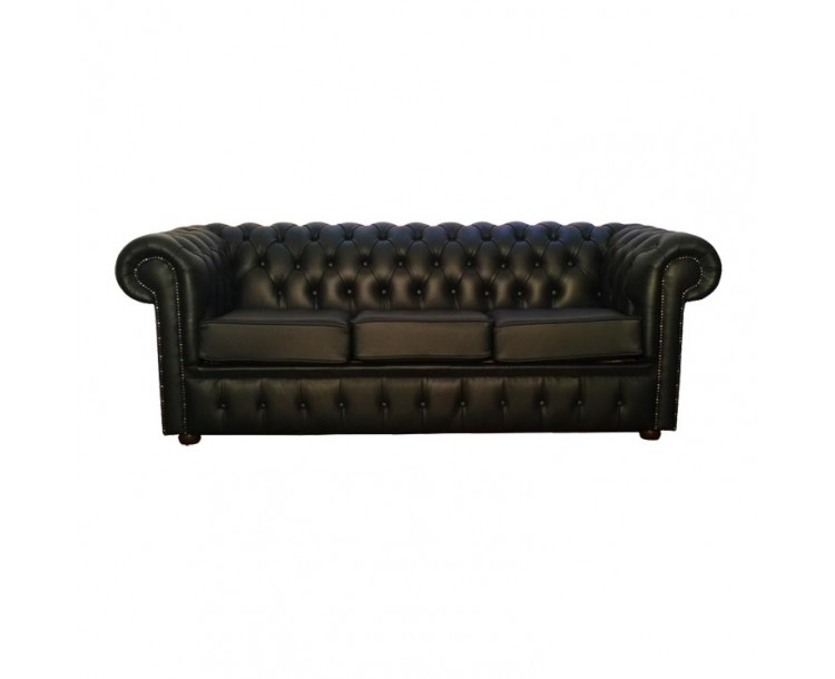 Chesterfield Shelly Black Genuine Leather Three Seater Sofa