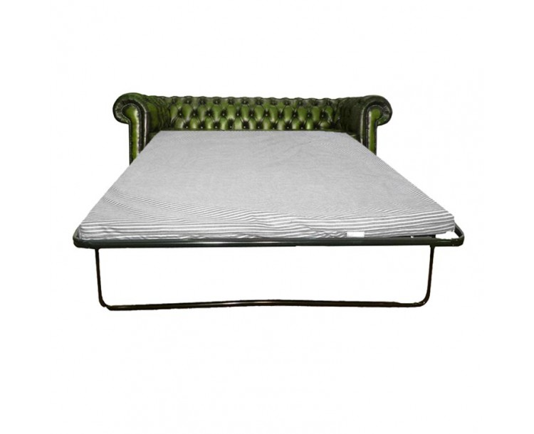 Chesterfield Antique Green Genuine Leather Three Seater Sofa Bed
