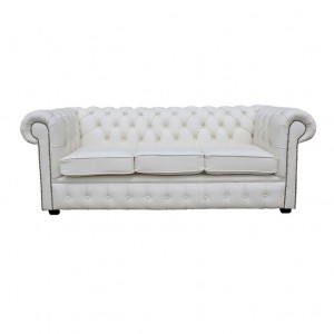 Chesterfield Shelly White Genuine Leather Three Seater Sofa