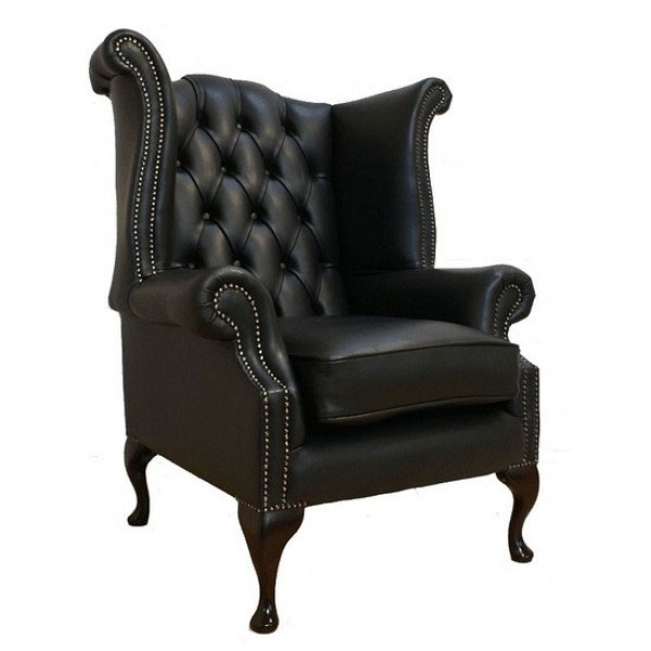Chesterfield Shelly Black Genuine Leather Queen Anne Armchair