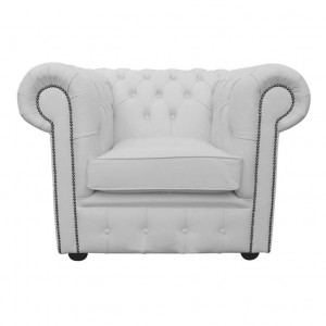 Chesterfield Shelly White Genuine Leather Club Chair