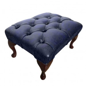 Chesterfield Genuine Leather Footstool Antique Blue