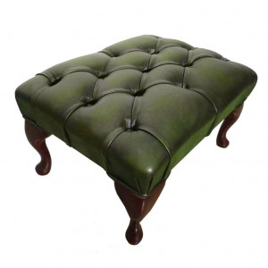 Chesterfield Antique Green Genuine Leather Footstool