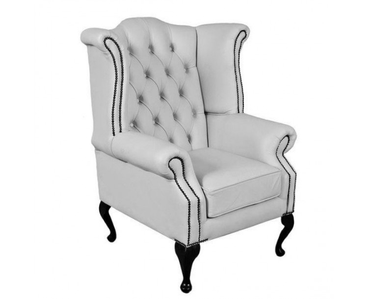 Chesterfield Shelly White Genuine Leather Queen Anne Armchair