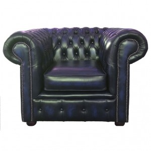 Chesterfield Antique Blue Genuine Leather Club Chair