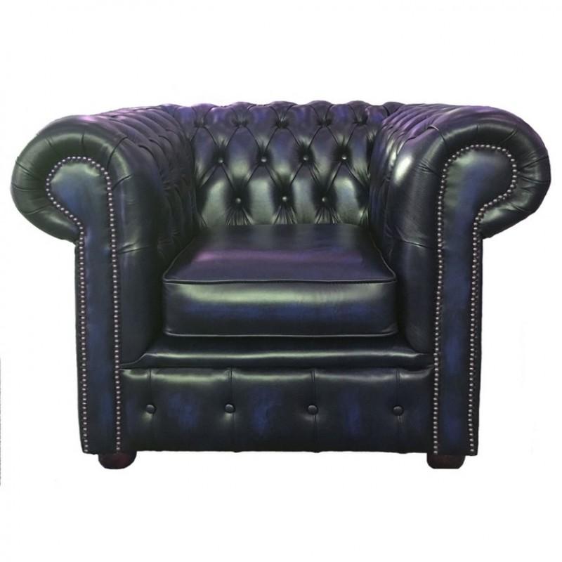 Fine Chesterfield Antique Blue Genuine Leather Club Chair Inzonedesignstudio Interior Chair Design Inzonedesignstudiocom