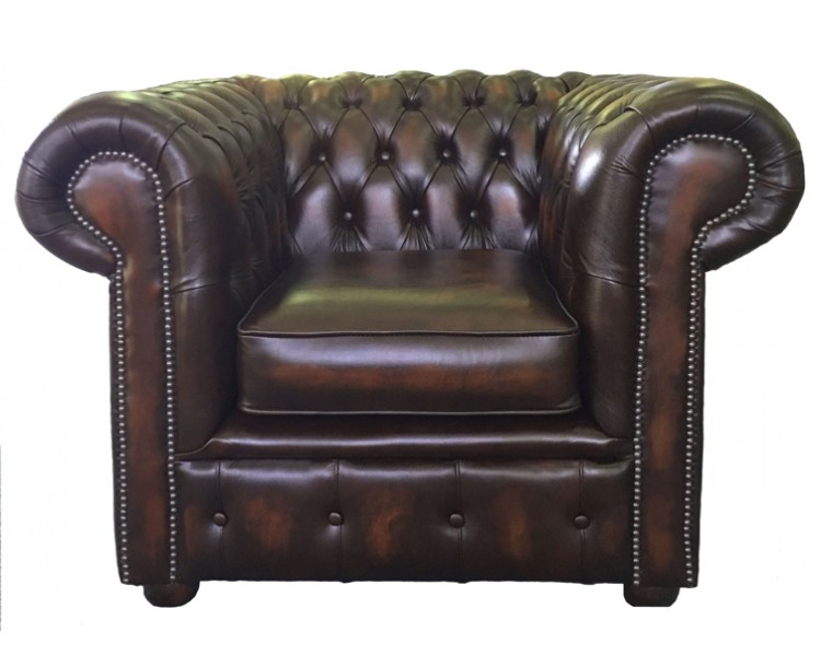 Chesterfield Antique Brown Genuine Leather Club Chair
