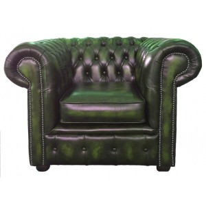 Chesterfield Antique Green Genuine Leather Club Chair